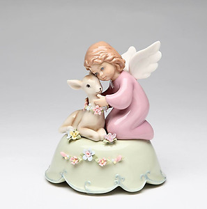Porcelain Angel with Deer Music Box