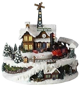 Animated Christmas Train Station Music Box