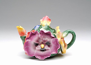 Porcelain Decorative Pansy Teapot