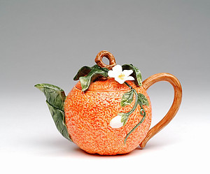 Porcelain Decorative Orange Teapot