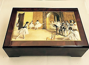 Degas Ballet Class with Dancing Ballerina Music Box