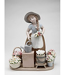 Little Girl with Flowers Porcelain Figurine #C10418