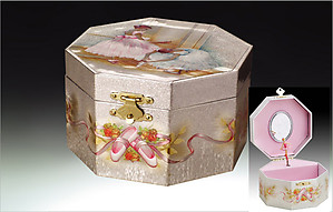Ballerina Musical Octagon Jewelry Box