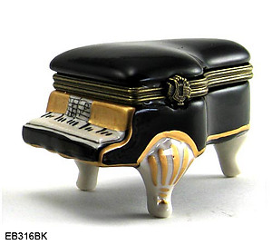 Black Baby Grand Piano Limoge Style Trinket Box