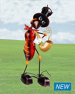 Ant With Saxophone Metallic Figurine