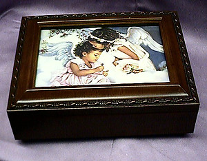 African American Little Angels Rosewood Music Box #mb240
