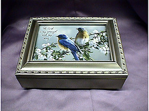 Watchful Blue Birds Champagne Music Box #bluebirds