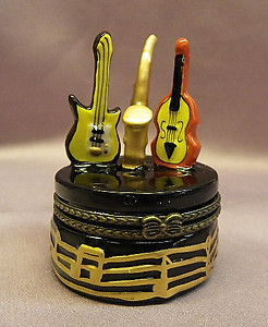 Musical Instruments Limoge Style Trinket Box