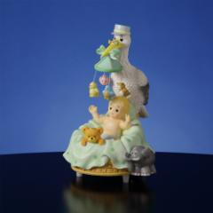 Stork with Baby Musical Figurine