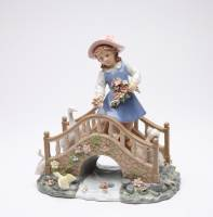 Girl On Bridge Porcelain Music Box