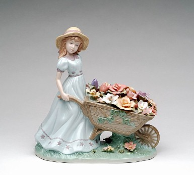 Porcelain Flower Cart Figurine