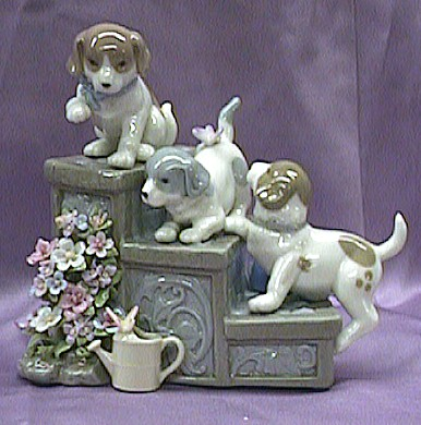 Puppies Porcelain Music Box