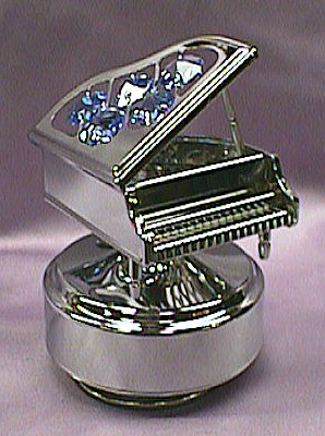 Baby Grand Piano With Blue Crystals