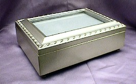 Champagne Silver Picture Frame Music Box #2055
