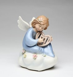 Porcelain Angel with Harp Music Box #10372