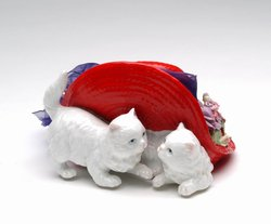 Cats in a Red Hat Porcelain Music Box