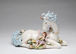 Unicorn with Fairy Porcelain Music Box #80076