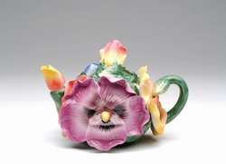 Porcelain Decorative Pansy Teapot #80142TP