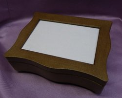 Oak Scalloped Musical Jewelry Photo Box #SP3061