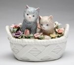 Porcelain Kittens in a Basket  #P73776